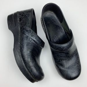 Dansko Embossed Black Clogs